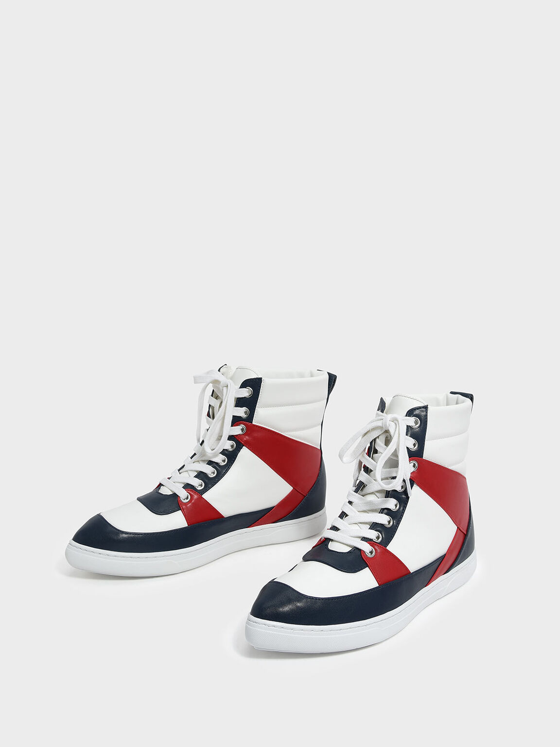 Pointed High Cut Sneakers, Multi, hi-res