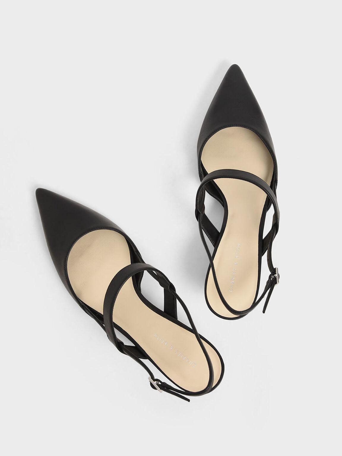 Slingback Kitten Heel Pumps, Black, hi-res