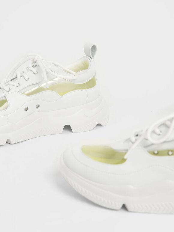 See-Through Chunky Sneakers, White, hi-res