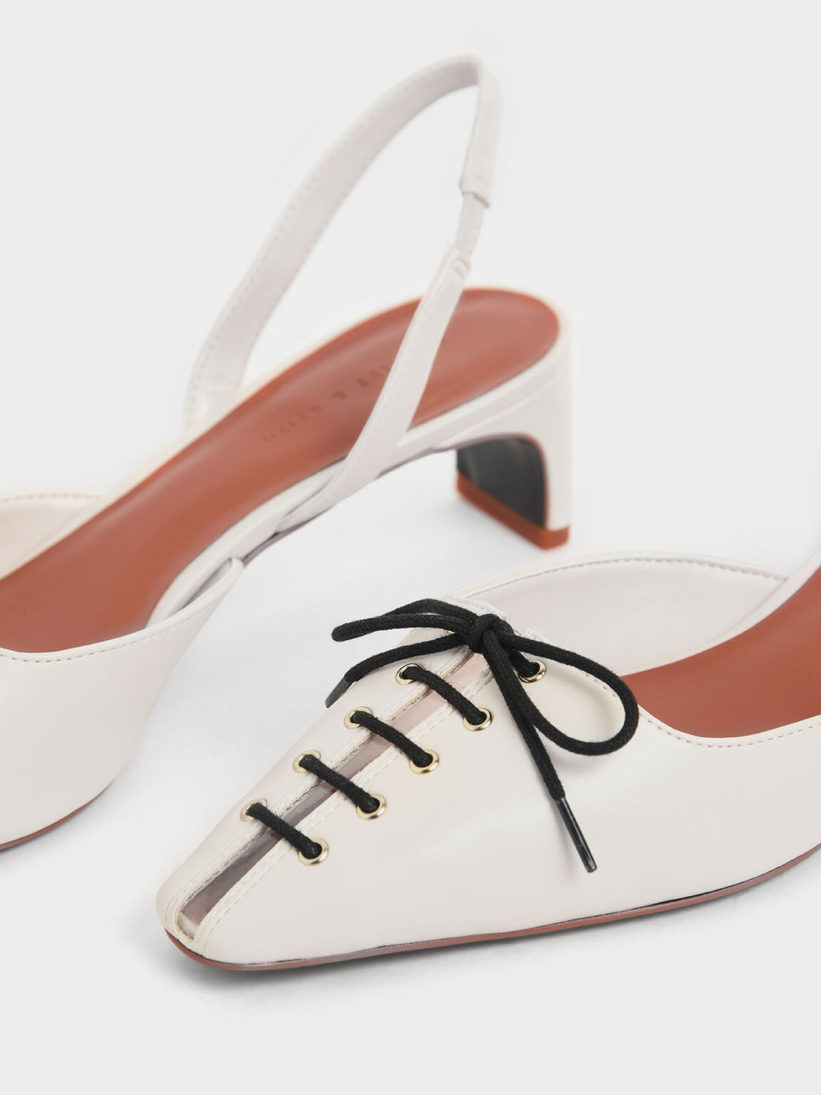 Lace-Up Slingback Heels, Cream, hi-res