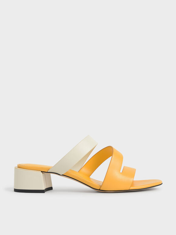 Molly Chiang Collection: Strappy Asymmetric Mules, Yellow, hi-res