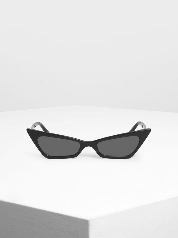 Angular Cat Eye Sunglasses, Black, hi-res