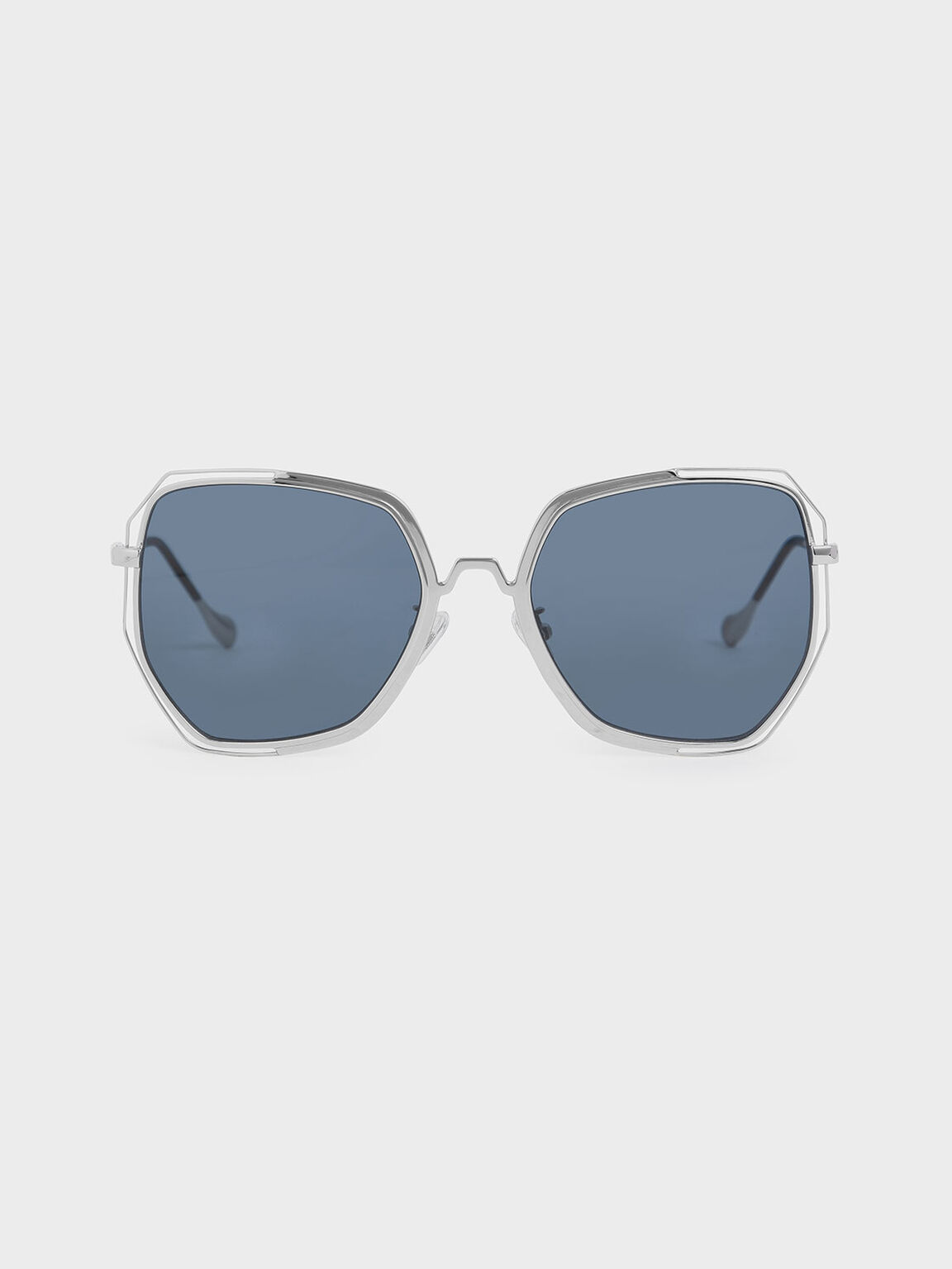 半鏤空蝴蝶框墨鏡, 深藍色, hi-res