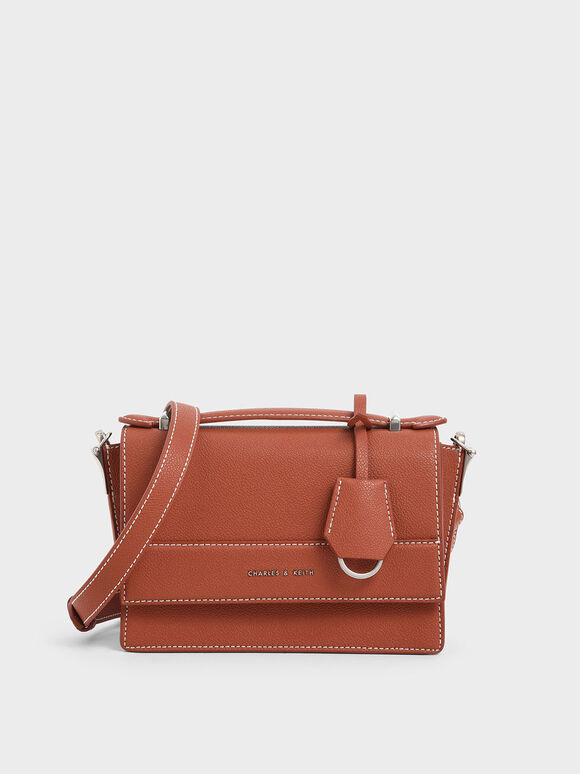 Front Flap Top Handle Bag, Cognac, hi-res