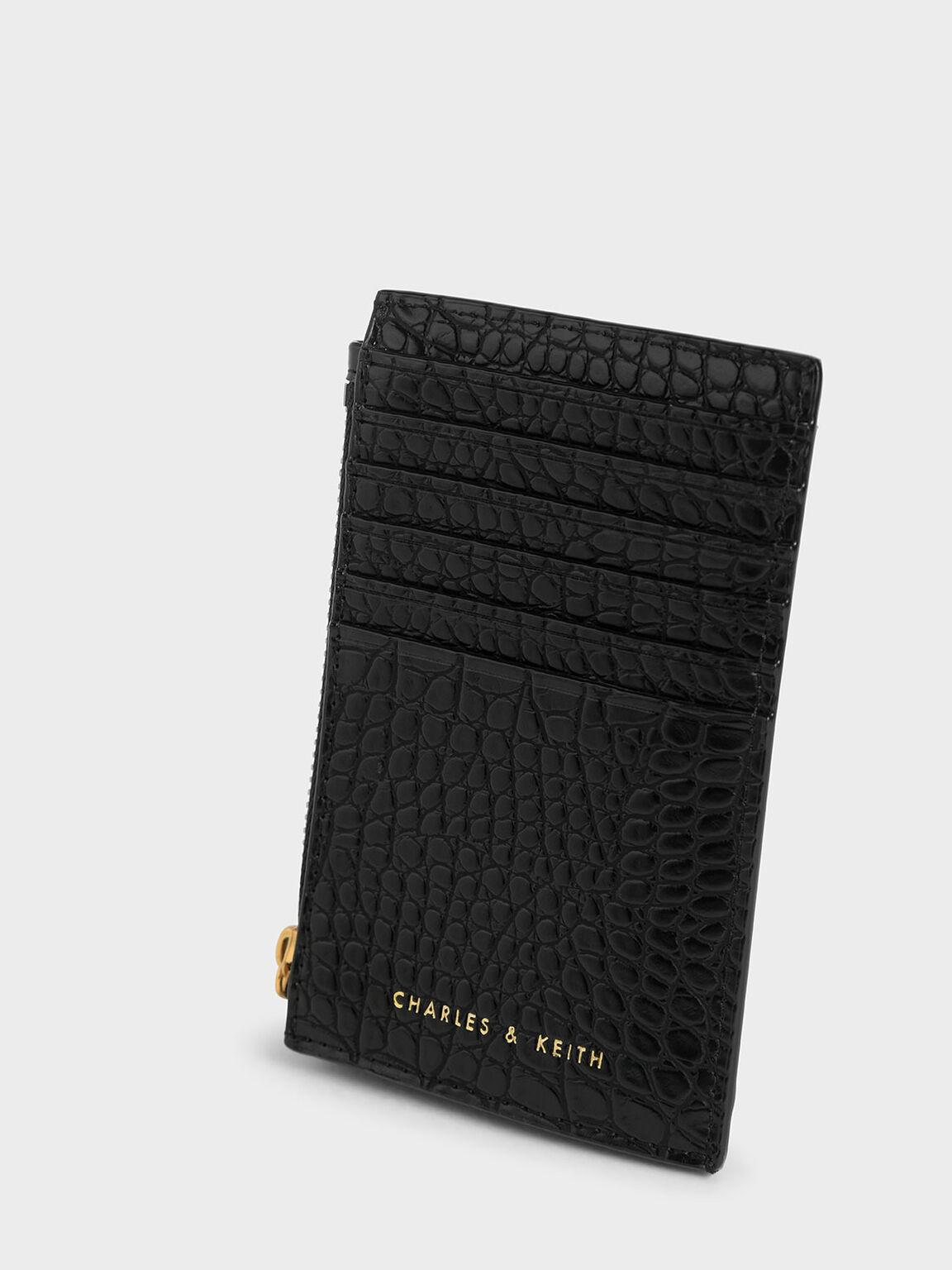 Croc-Effect Stone-Embellished Card Holder, Black, hi-res