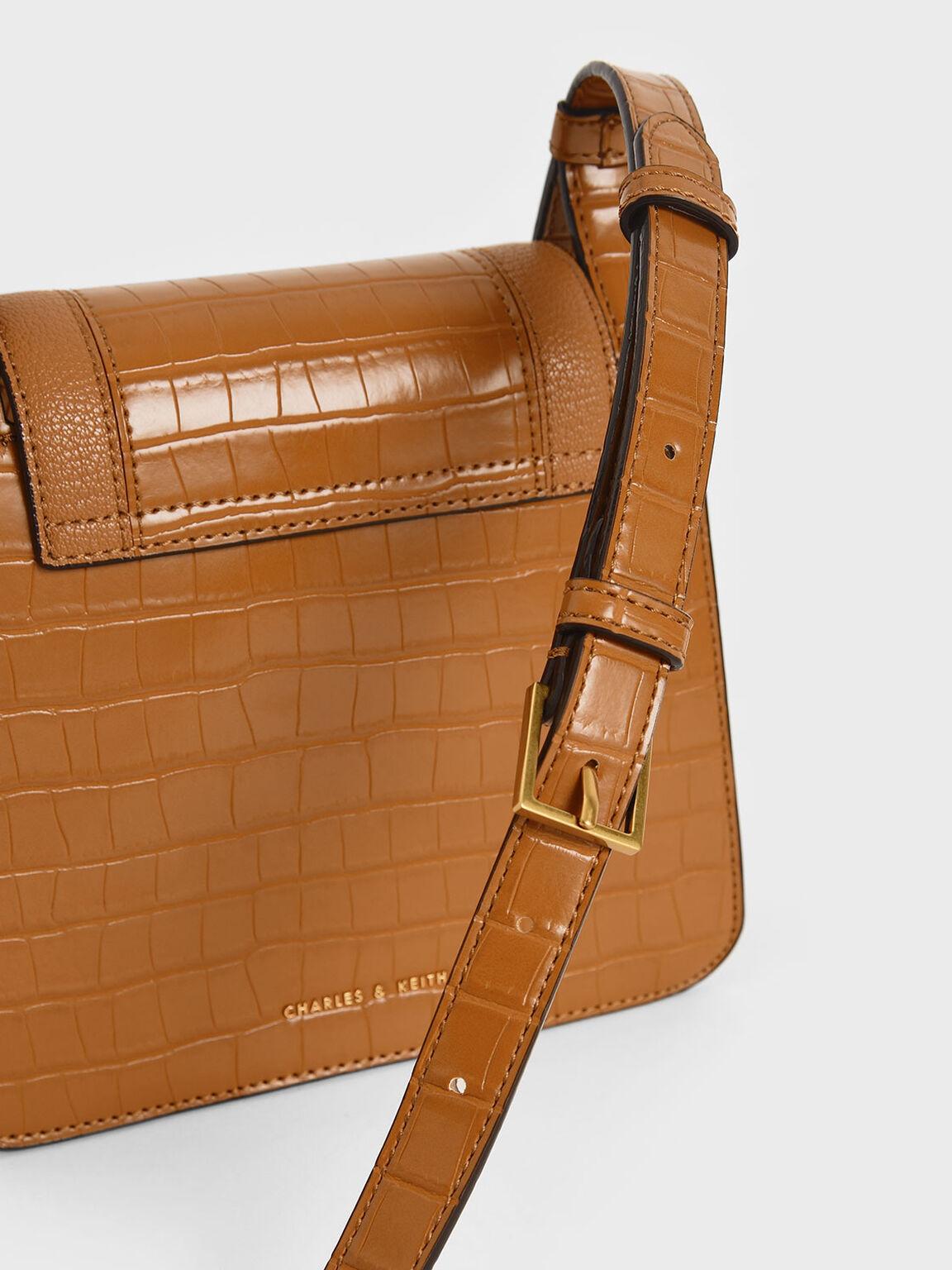 Croc-Effect Small Crossbody Bag, Cognac, hi-res