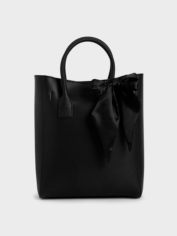 Satin Scarf Tote Bag, Ultra-Matte Black, hi-res