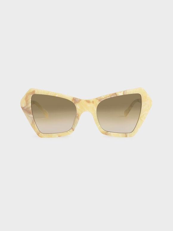 Geometric Frame Sunglasses, Cream, hi-res