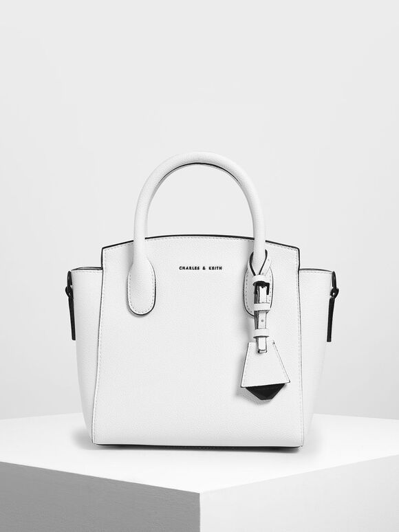 Classic Double Top Handle Bag, White, hi-res
