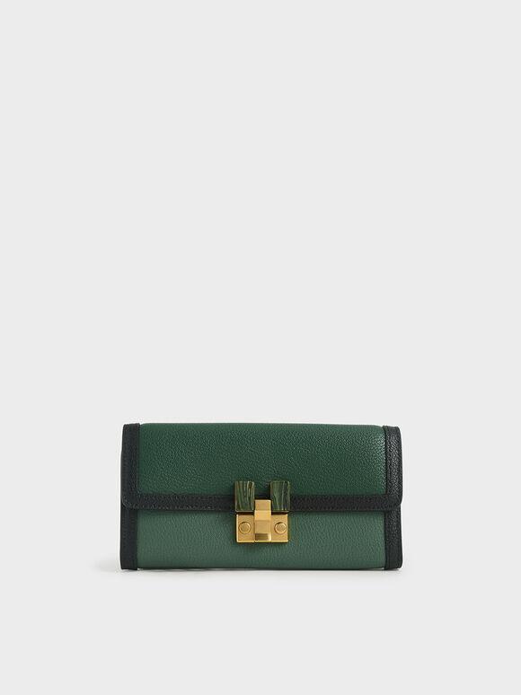 Stone-Embellished Mini Long Wallet, Green, hi-res