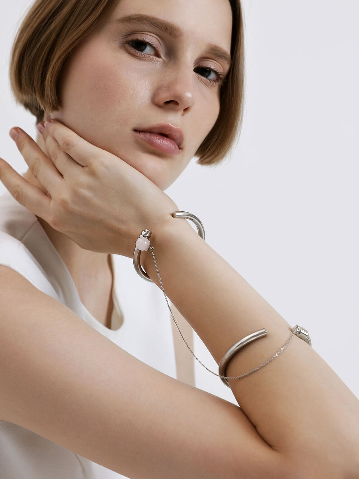 石英雙層手環, 銀色, hi-res