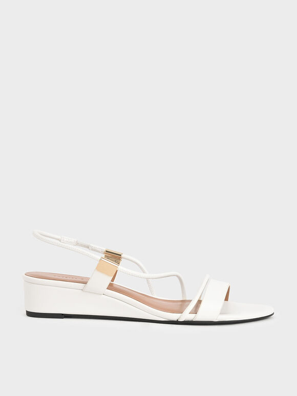 Strappy Slingback Wedges, White, hi-res