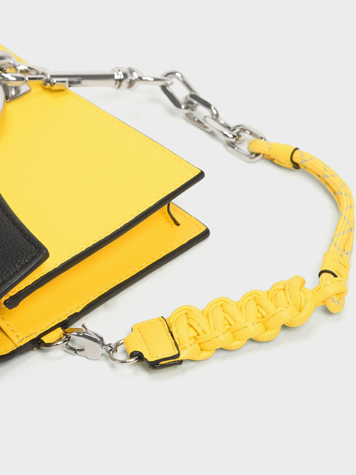 Chain Link Ring Detail Wallet, Yellow, hi-res