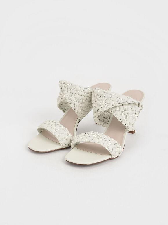 編織帶高跟拖鞋, 白色, hi-res