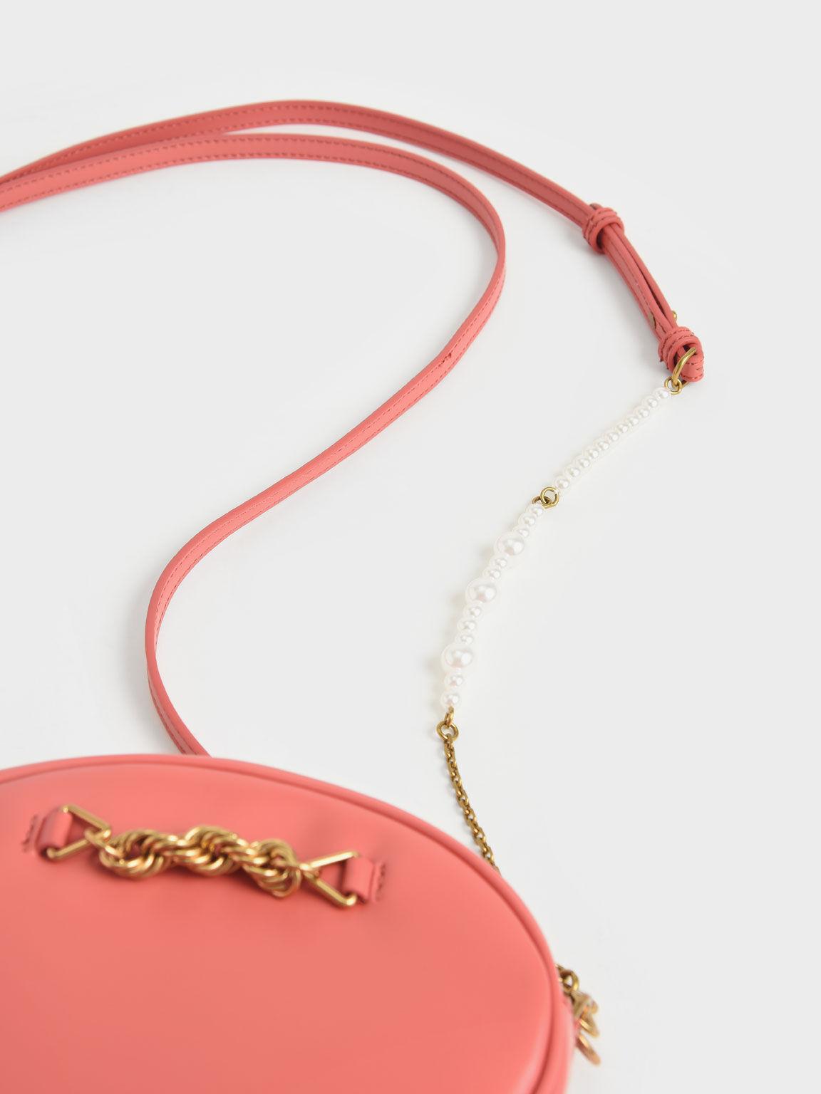 金屬鍊橢圓斜背包, 珊瑚色, hi-res