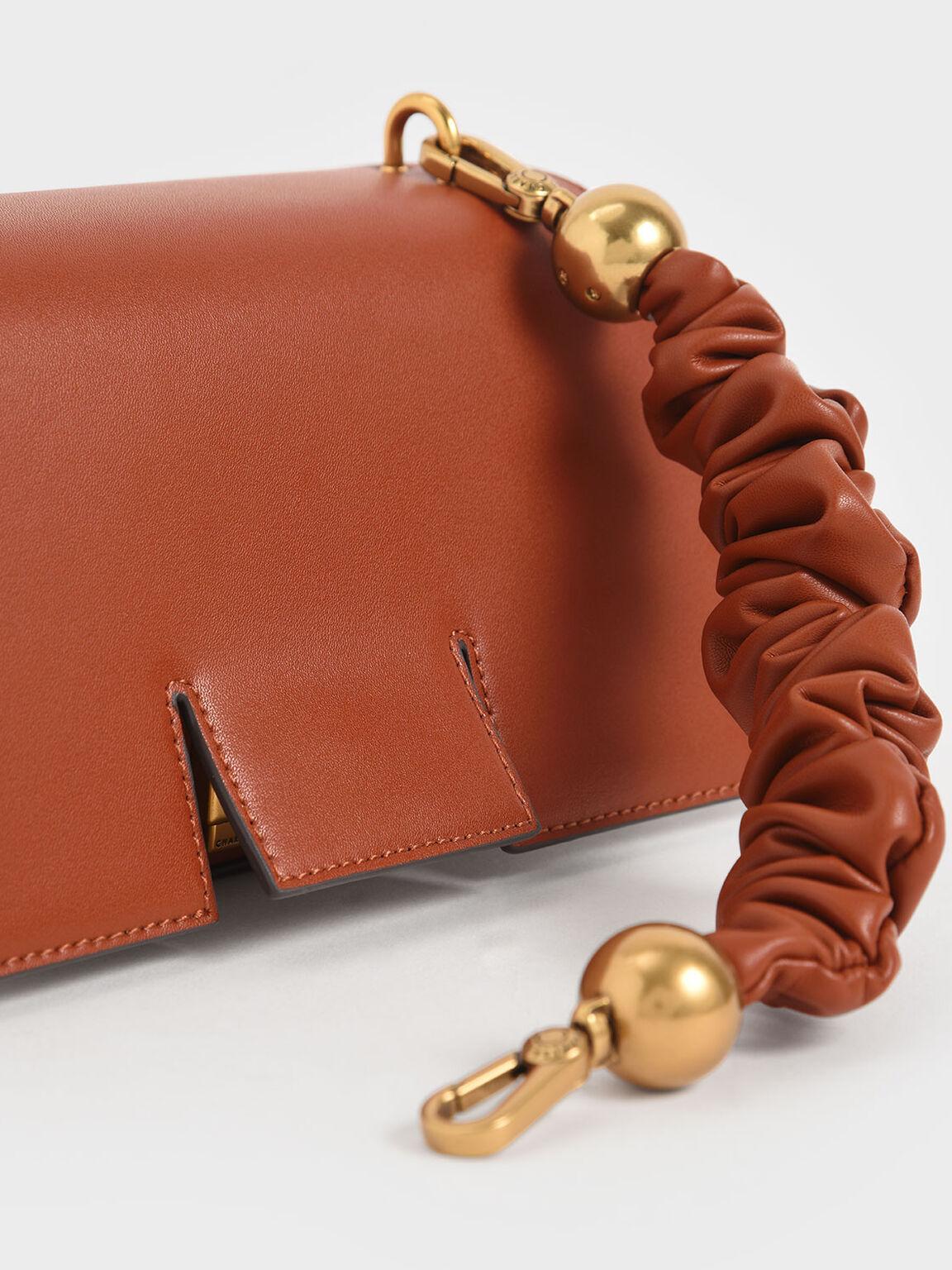 Ruched Handle Sculptural Bag, Brick, hi-res