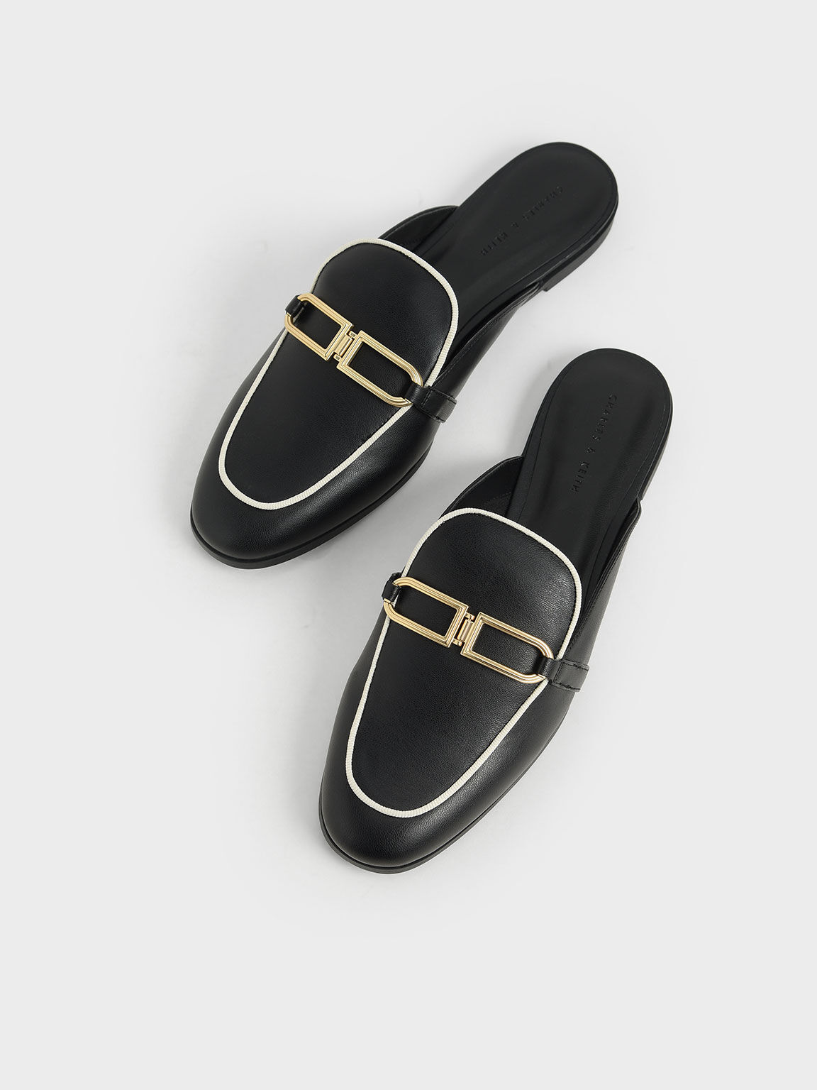 Metallic Accent Mule Flats, Black, hi-res