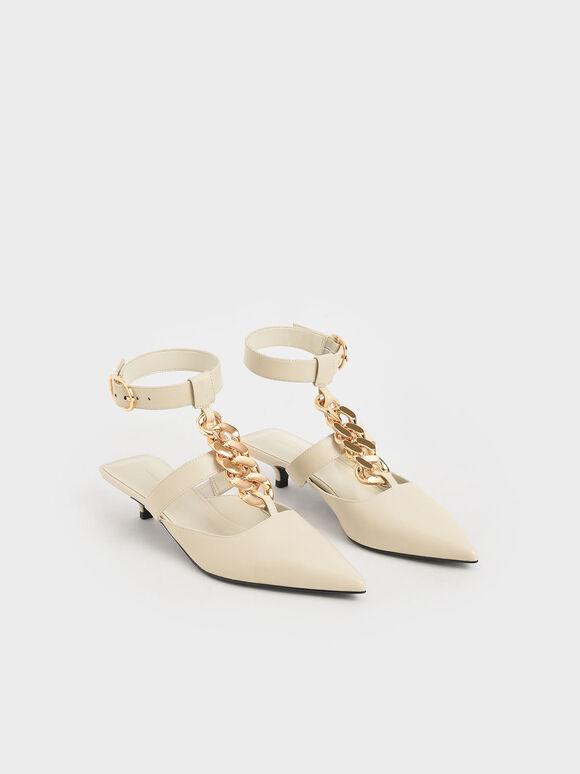 粗練繞踝尖頭鞋, 石灰白, hi-res