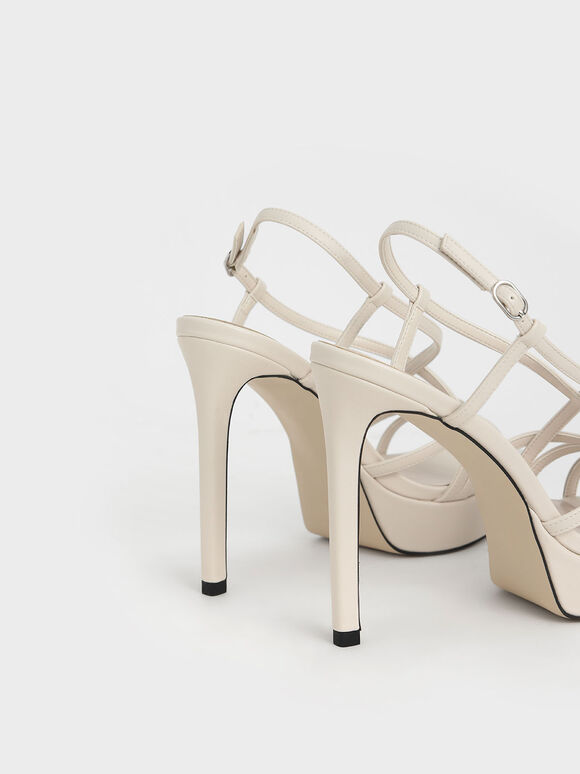 Strappy Platform Sandals, Chalk, hi-res