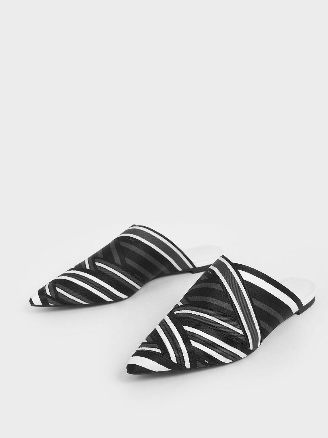 Multicoloured Grosgrain Mules, Black, hi-res