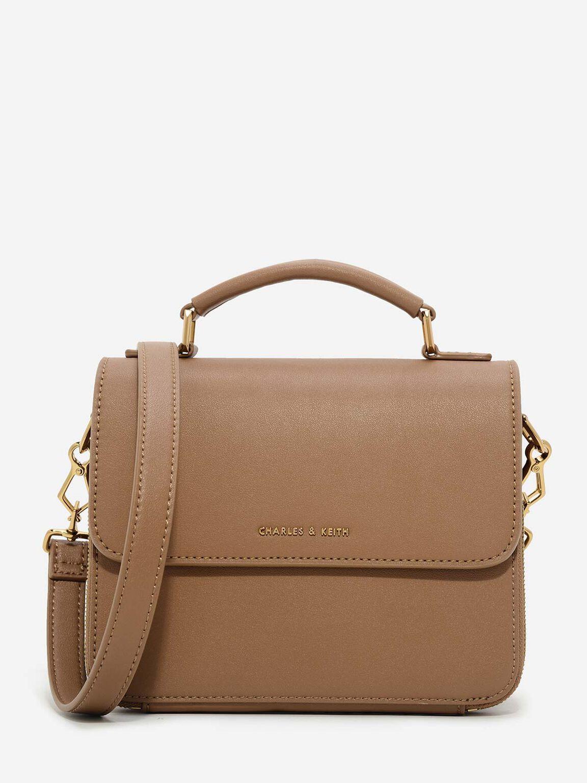 Basic Front Flap Crossbody Bag, Brown, hi-res