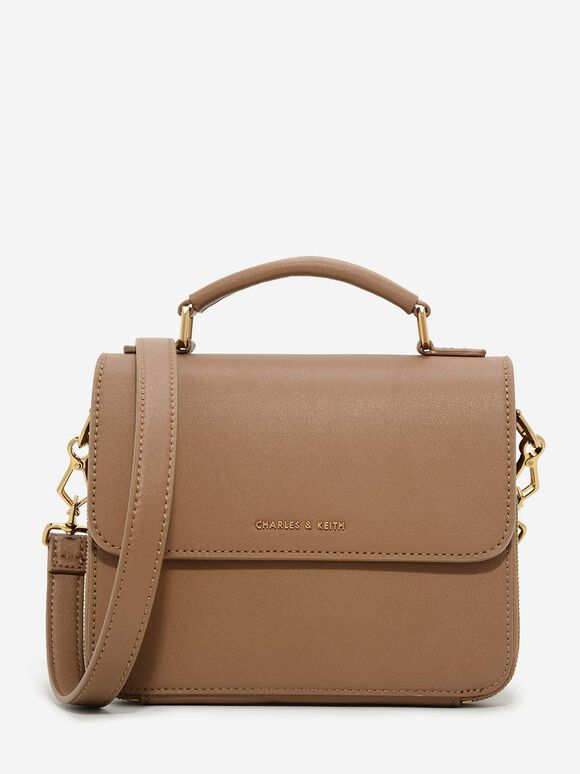 Basic Front Flap Crossbody Bag, Brown, hi-res