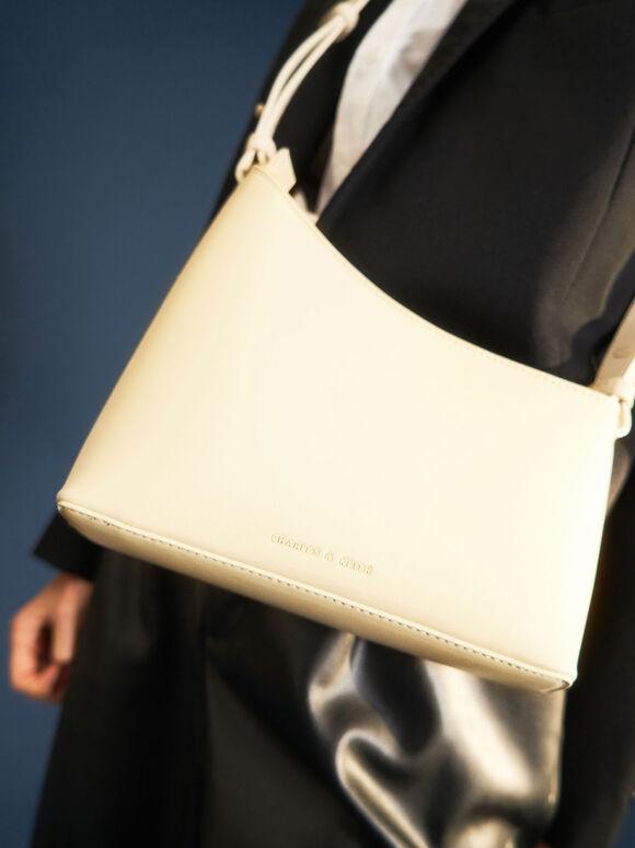 幾何剪裁手提包, 石灰白, hi-res