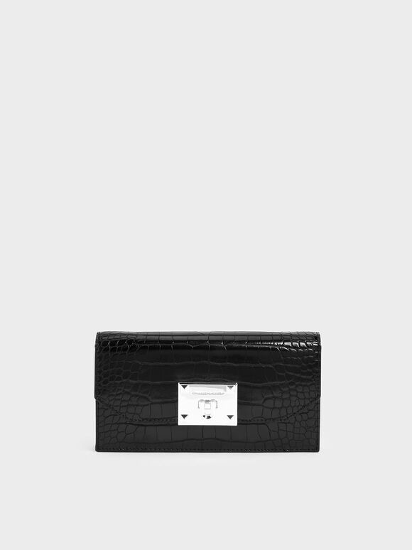 Croc-Effect Push Lock Flap Wallet, Black, hi-res
