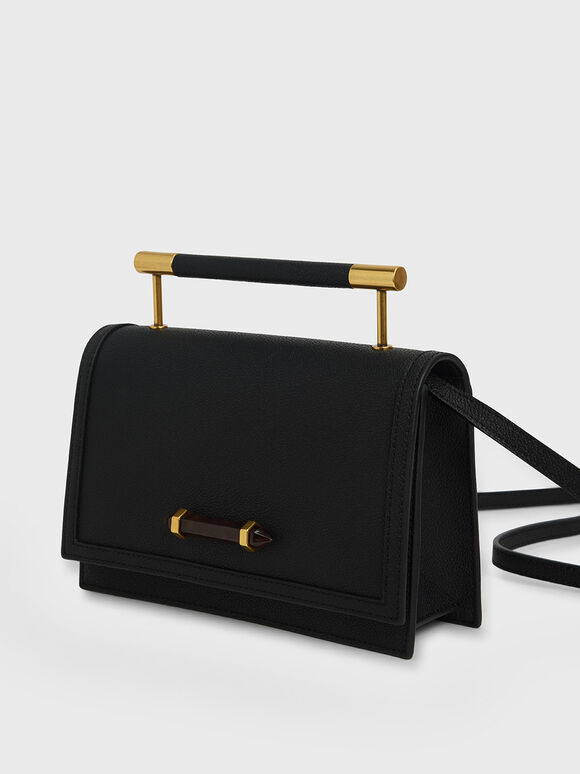 Metal Top Handle Bag, Black, hi-res
