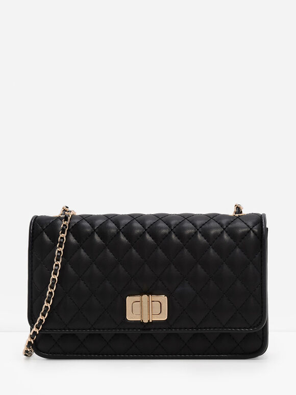 Quilted Chain Strap Bag, Black, hi-res