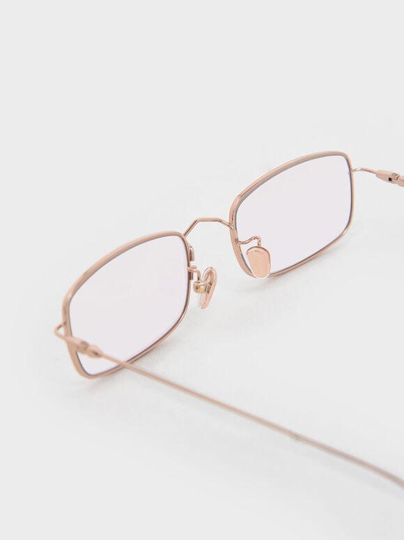Rectangular Wireframe Sunglasses, Pink, hi-res