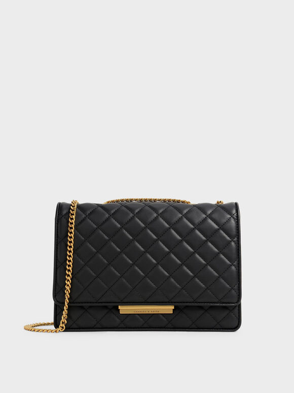 Quilted Chain Bag, Black, hi-res
