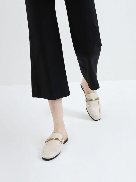 金屬扭結拖鞋, 石灰白, hi-res