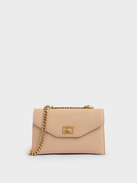 Turn-Lock Crossbody Bag, Beige, hi-res