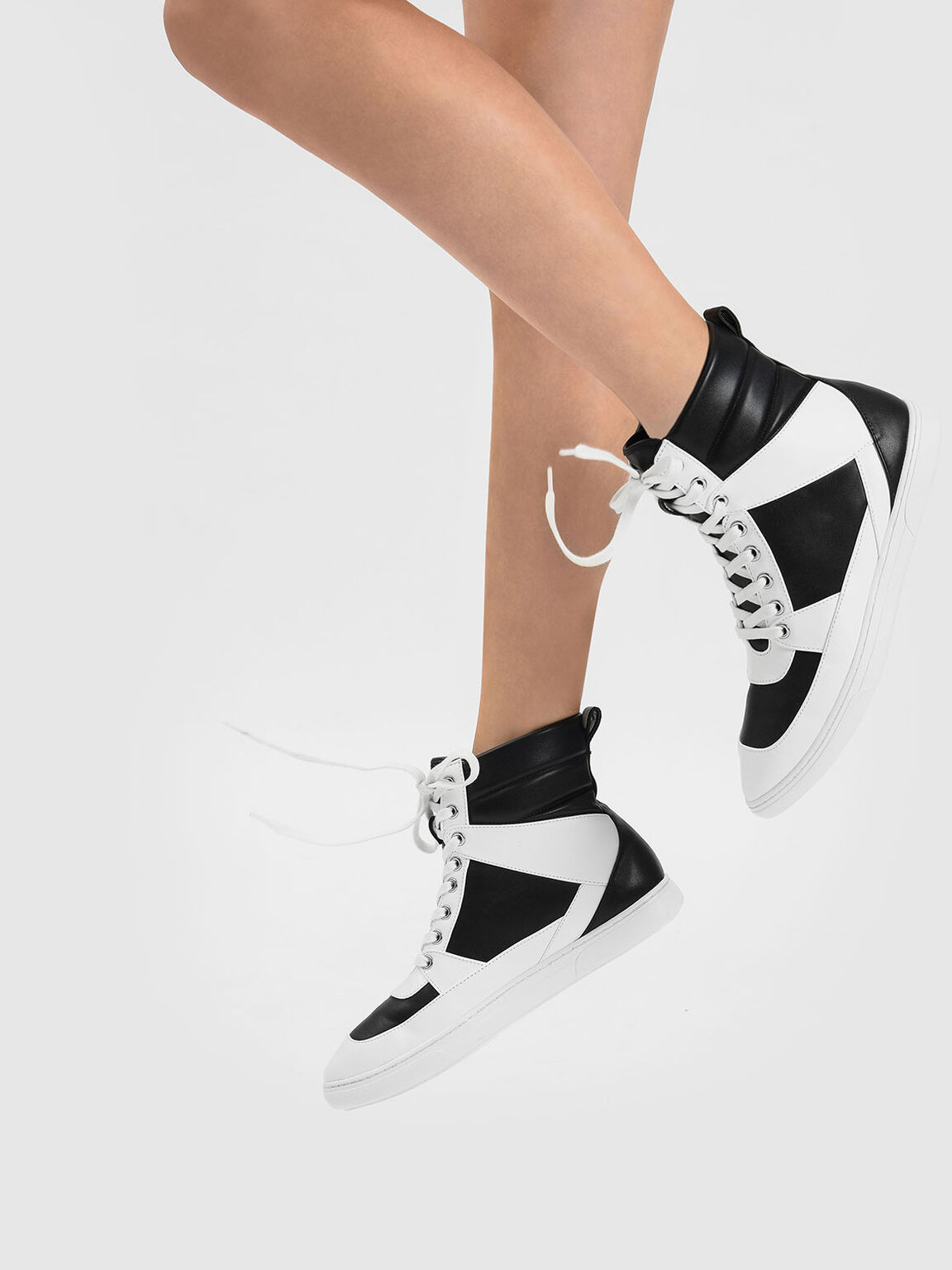 Pointed High Cut Sneakers, Black, hi-res