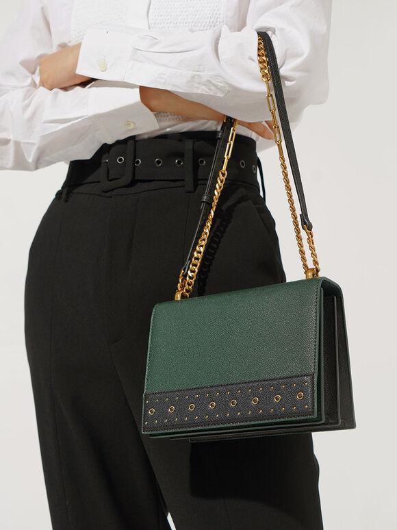 Eyelet-Embellished Crossbody Bag, Green, hi-res