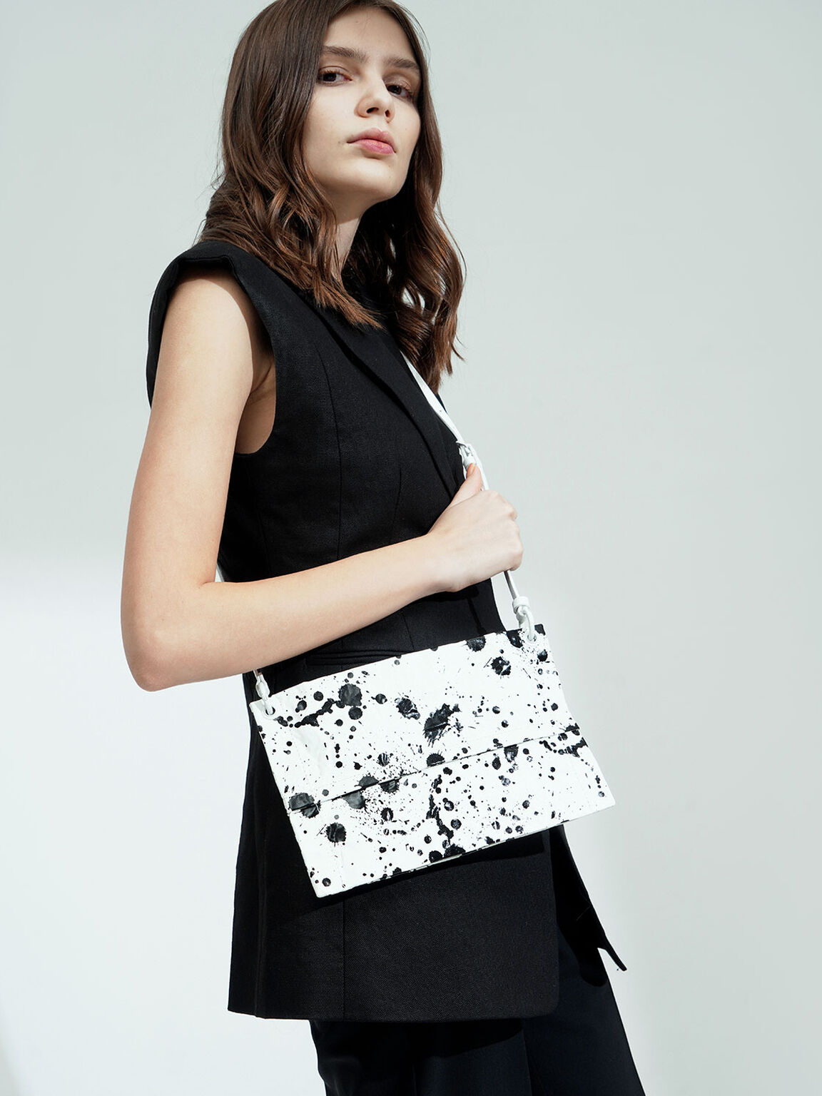 Printed Zip Clutch, White, hi-res