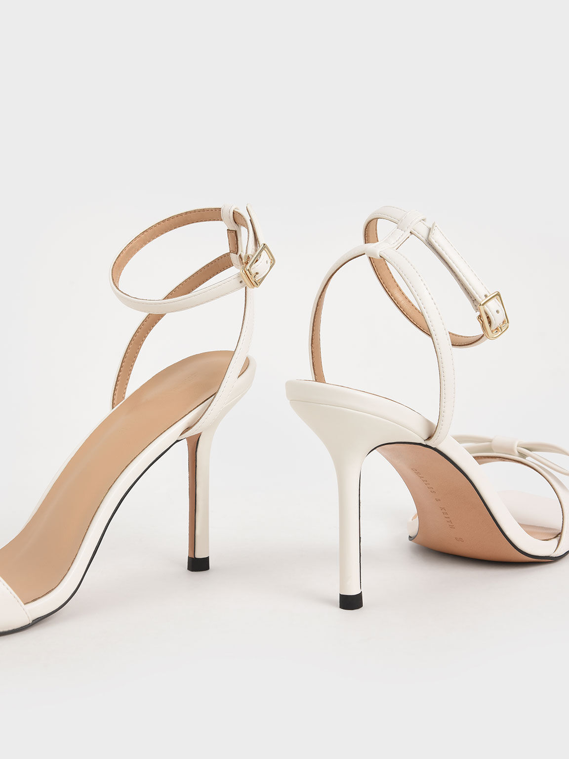 Bow Ankle Strap Sandals, White, hi-res