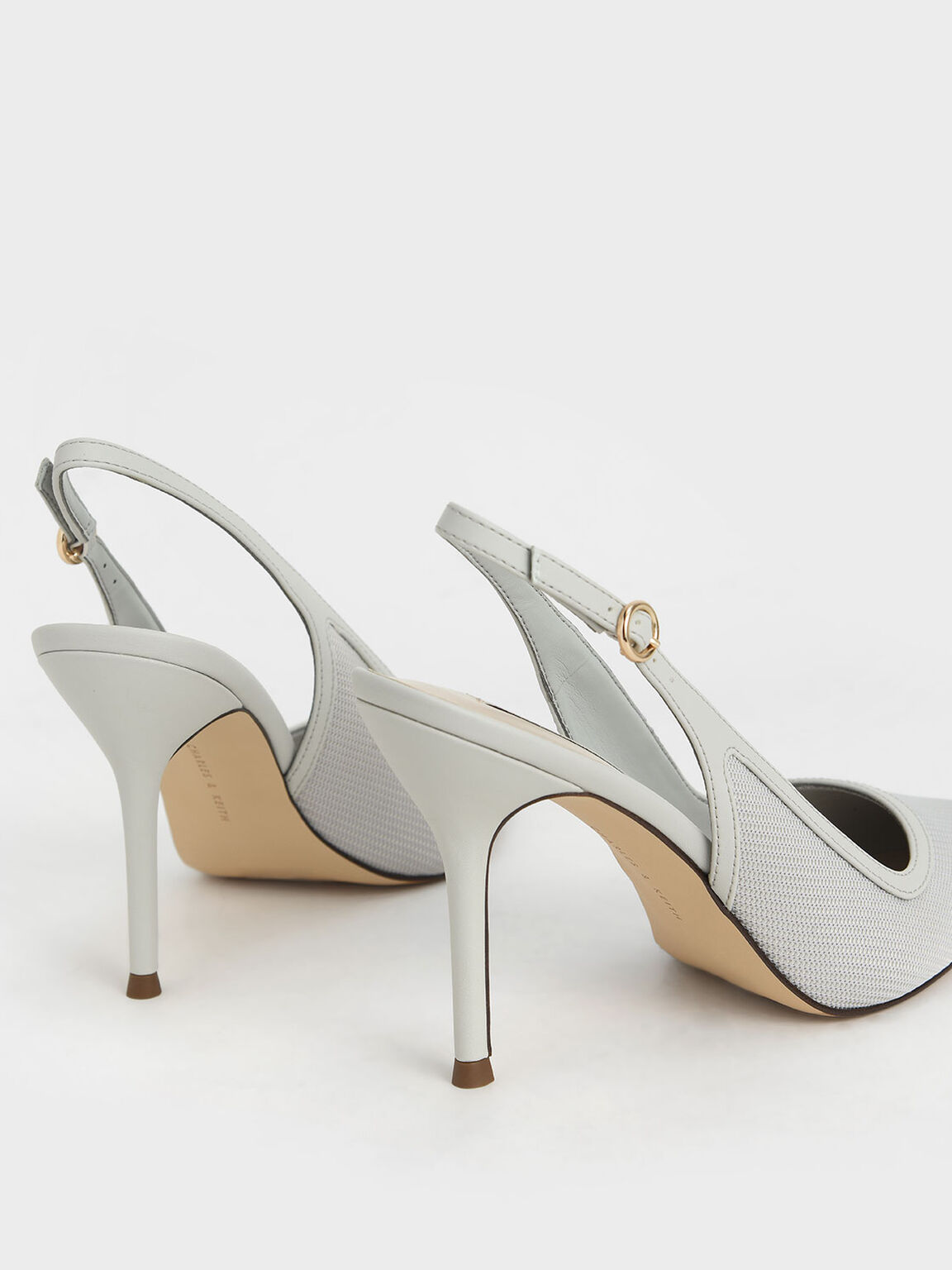 Mesh & Satin Slingback Stiletto Pumps, Light Grey, hi-res