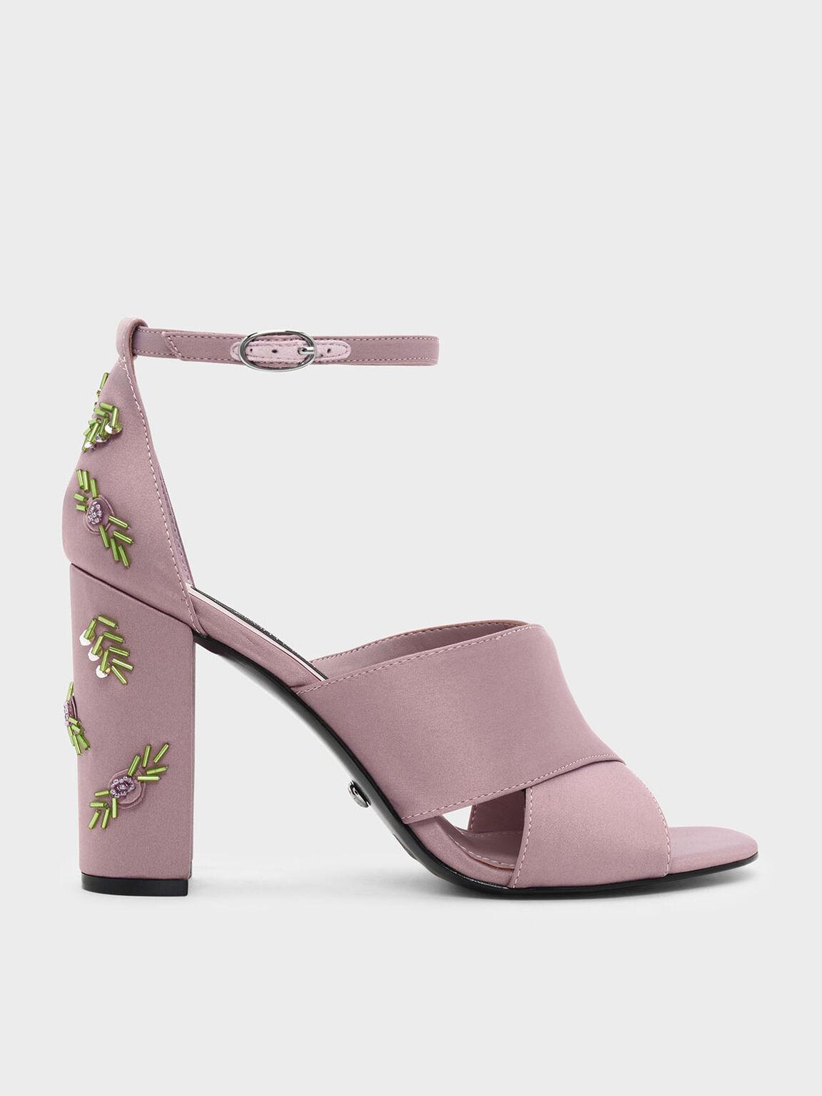 Embellished Block Heel Satin Sandals, Pink, hi-res