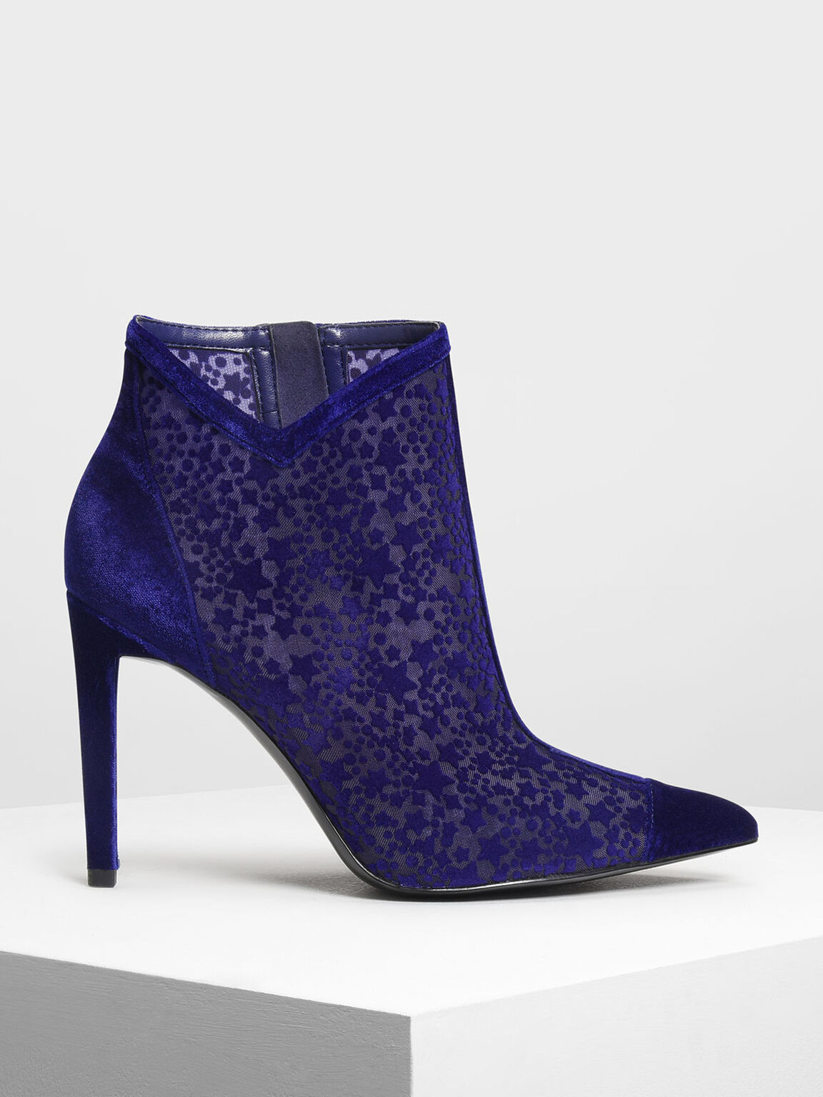 Velvet Flocking Ankle Boots, Blue, hi-res