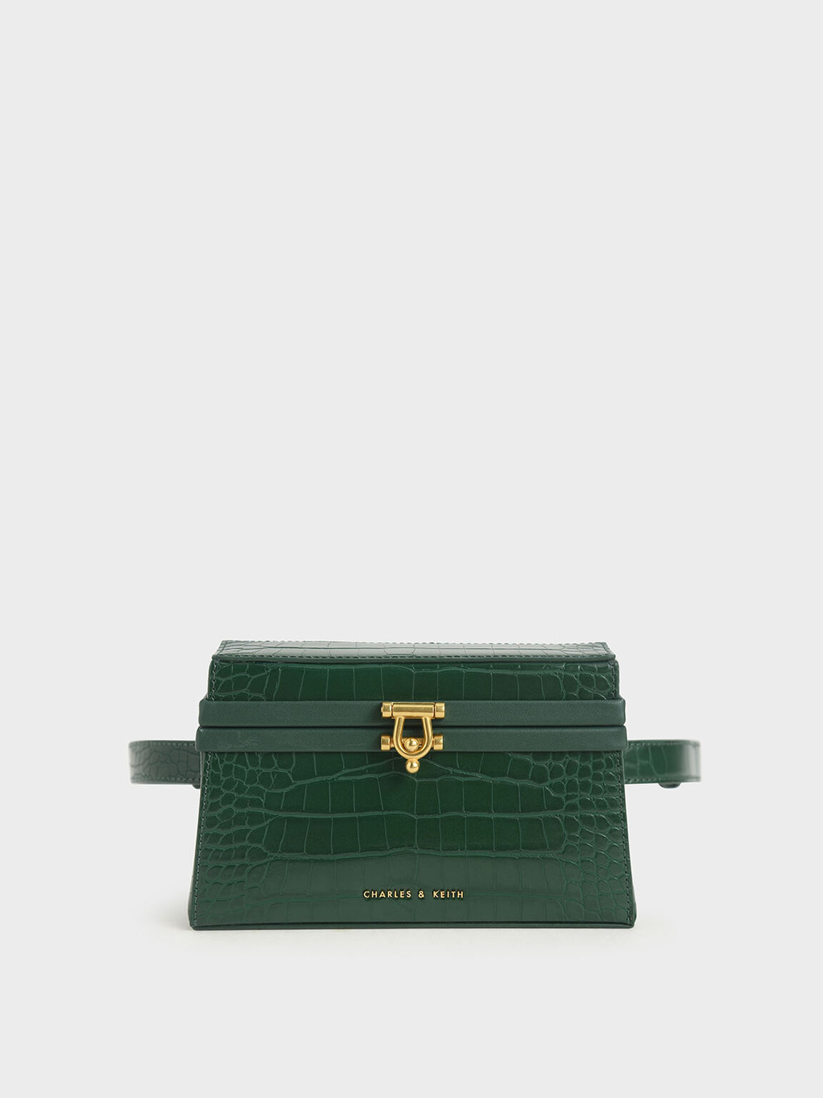 Croc-Effect Trapeze Belt Bag, Green, hi-res