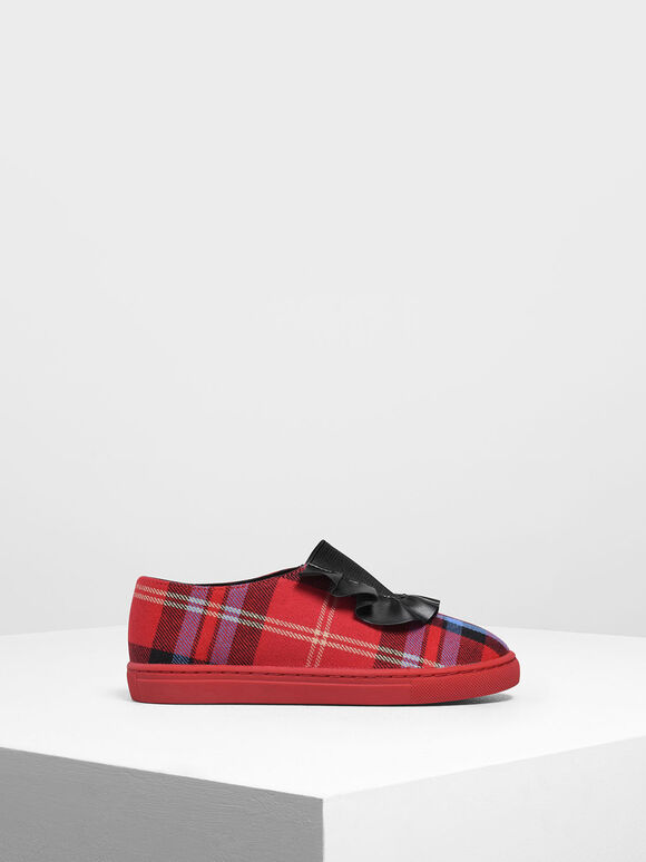 Girls' Frill Trim Check Print Slip-On Sneakers, Red, hi-res