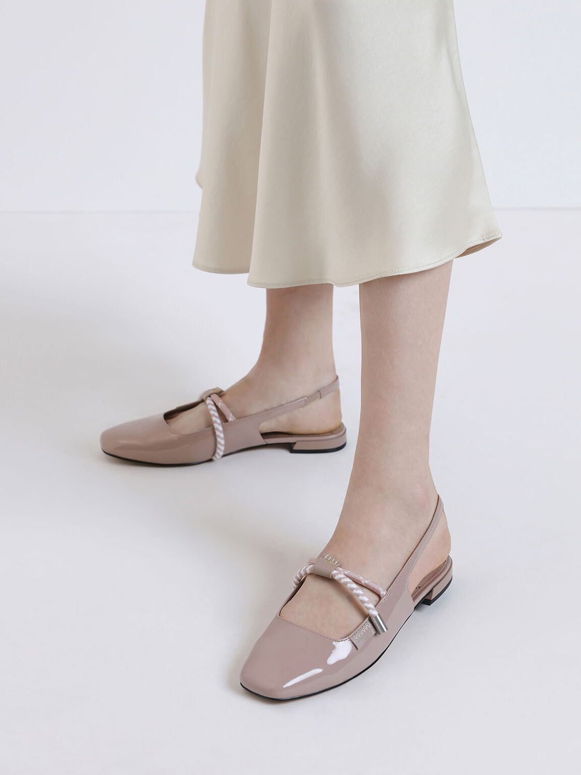 Rope Detail Slingback Flats, Nude, hi-res