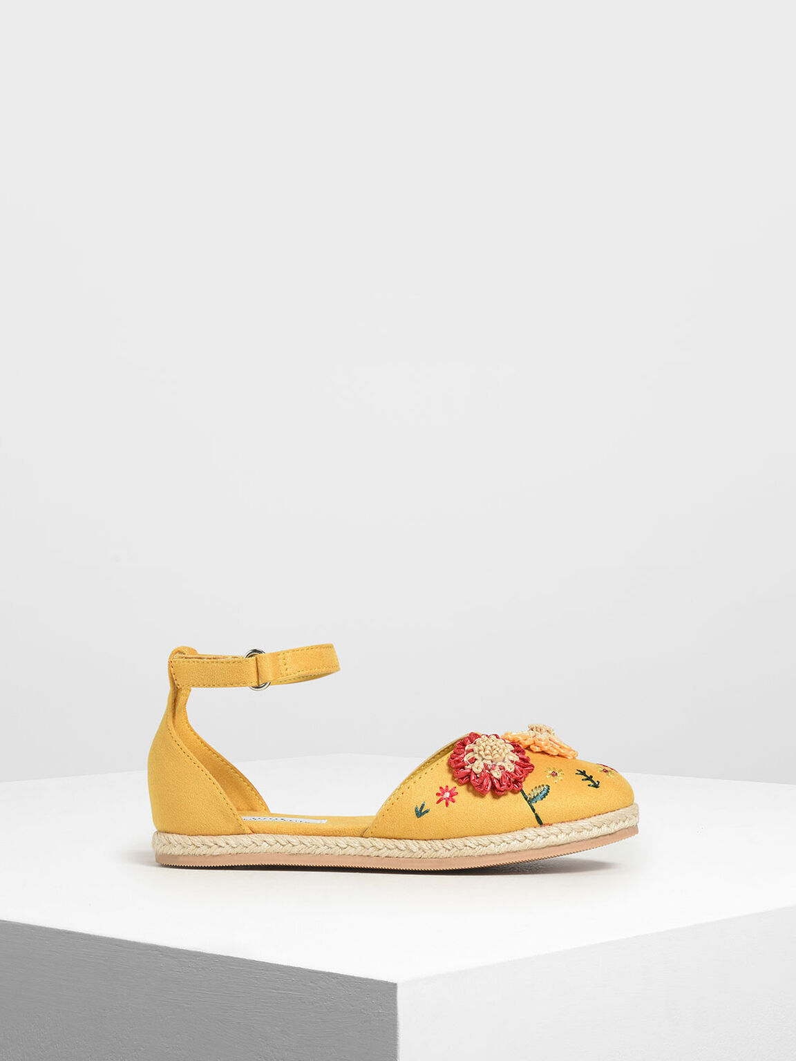 Girls' Floral Embroidered Raffia Sandals, Yellow, hi-res
