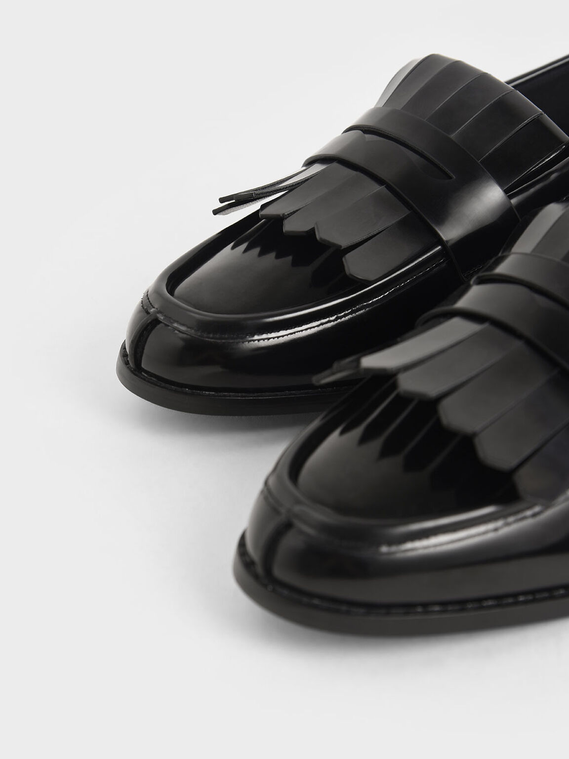 Frill Loafers, Black, hi-res