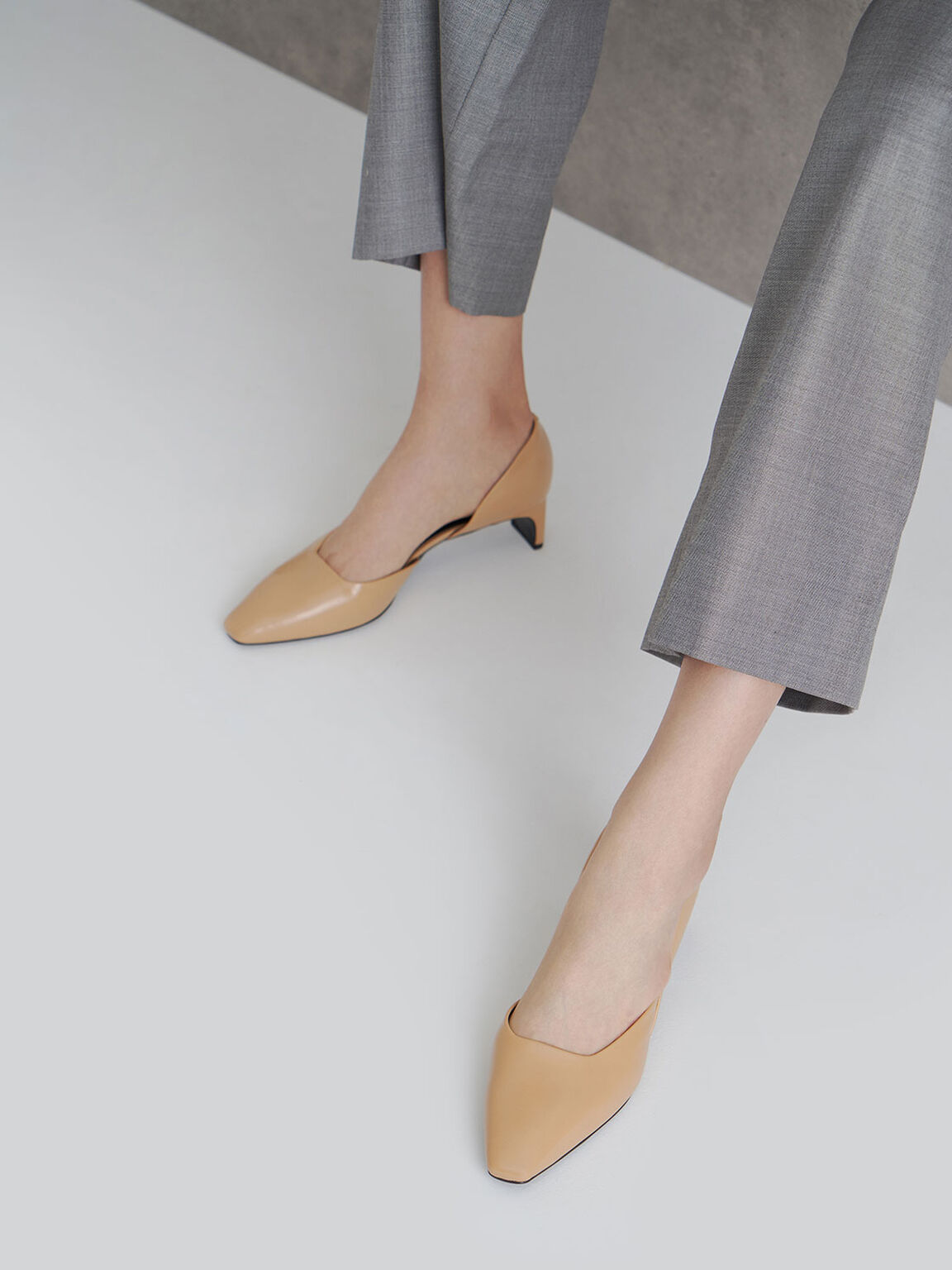 Square Toe D'Orsay Court Shoes, Beige, hi-res