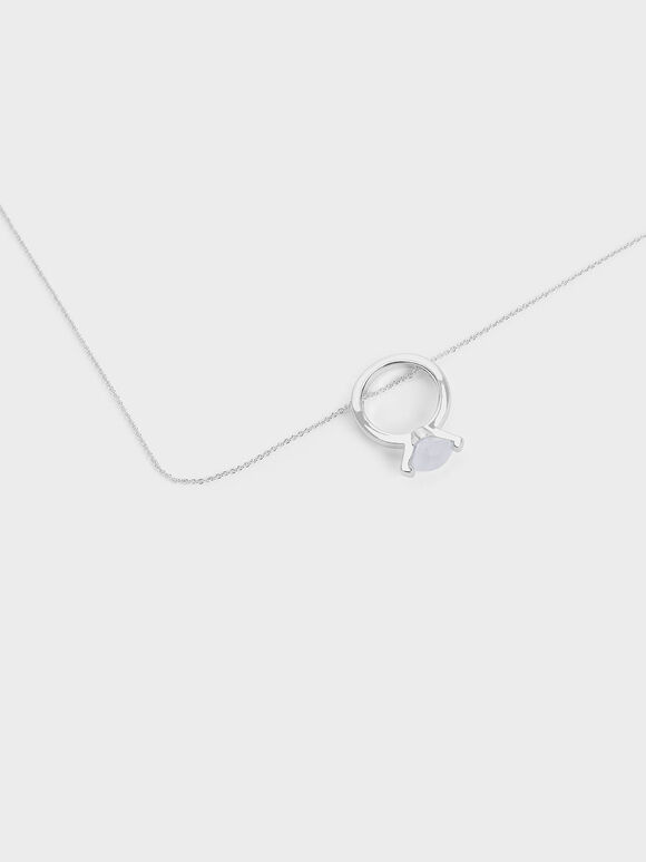 Chalcedony Stone Ring Matinee Necklace, Silver, hi-res