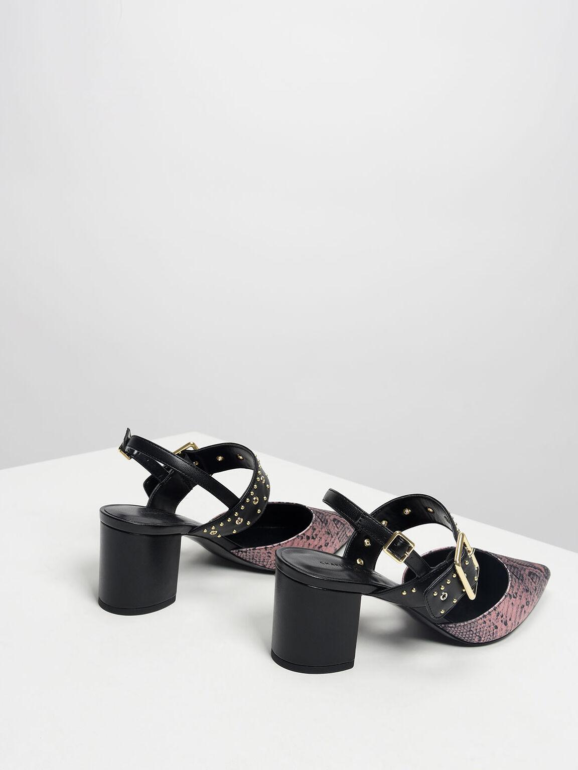 Studded Pointed Slingbacks, Light Pink, hi-res