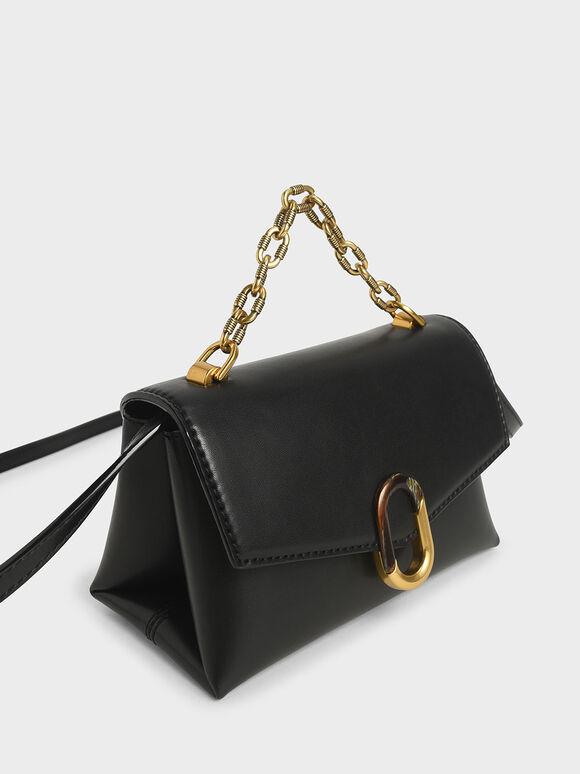 Chunky Chain Strap Trapeze Bag, Black, hi-res